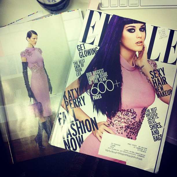 Bottega everywhere! Katie Perry goes glam on the cover of Elle in embroidered pink Bottega Veneta crepe dress (Taken with Instagram)