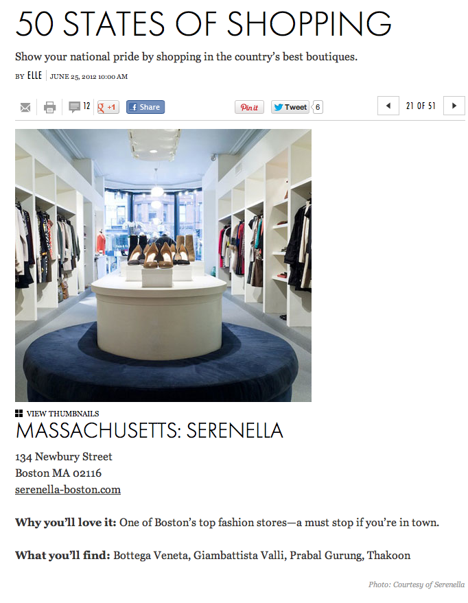 Big thanks to Elle Magazinefor spotlighting Serenella as Massachusetts' top fashion boutique! We are honored!