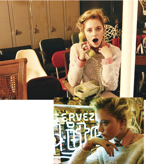 Maika Monroe wearing Boy. by Band of Outsiders sweater. v-magazine: DREW'S ANGELS: MAIKA MONROE. She's not afraid of anything- evident from her first experience on a movie set in a horror film at age 12 to her hobby of competitive kite boarding. Photography by Drew Barrymore. V78 The Youthquake Issue is on sale July 5! CLICK HERE for more!