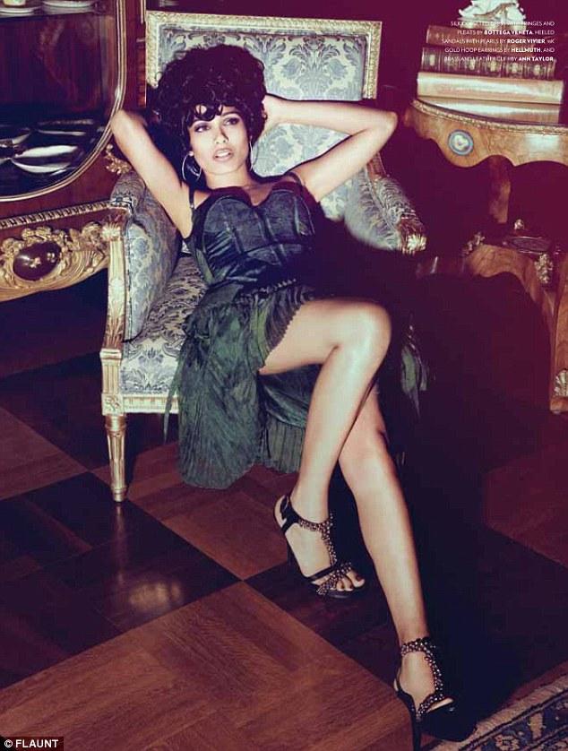 Freida Pinto seduces the camera in Bottega Veneta in the July issue of Flaunt Magazine.