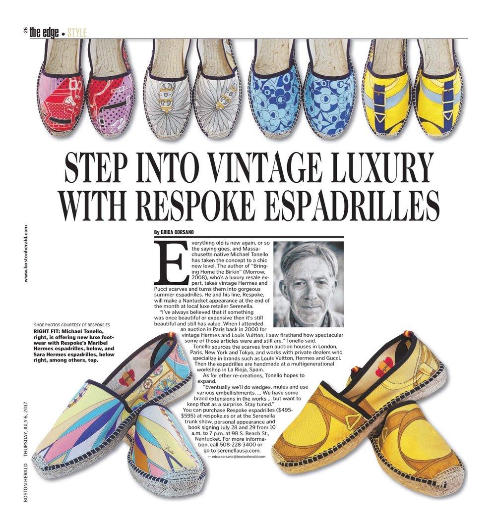 Boston Globe Featuring Respoke Espadrilles, 2017