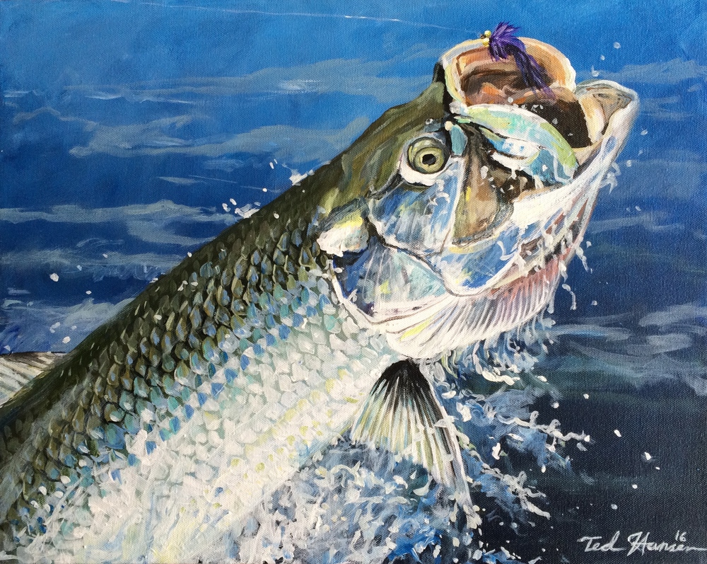 """Fish On!, Tarpon""  20"" x 16"", Acrylic on Canvas"
