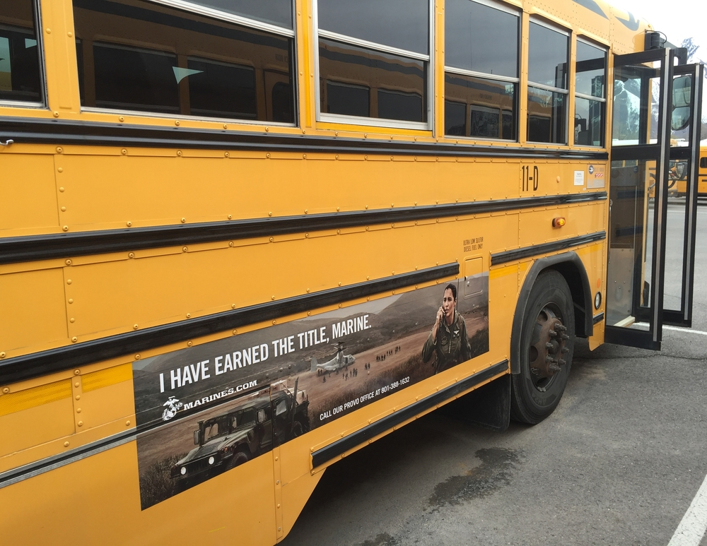 Marines School Bus ad in utah
