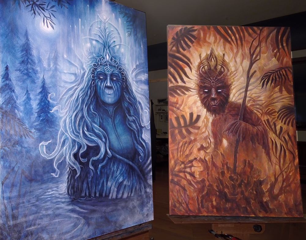 Water Spirit, Forest Spirit 24x36, acrylic on canvas