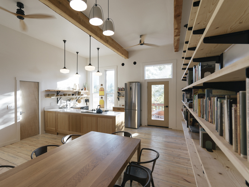 Our communal kitchen-library, a place to gather and make friends