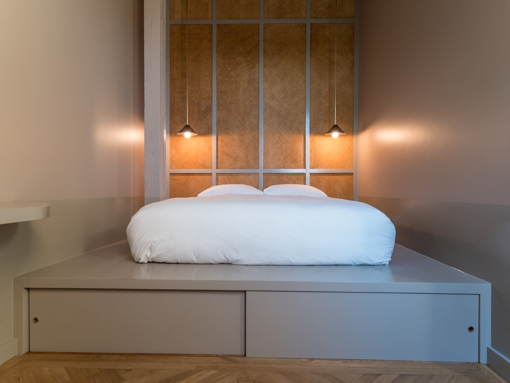 The bed nook, with custom pendants by  John Sorensen-Jolink  and stowage underneath for your luggage