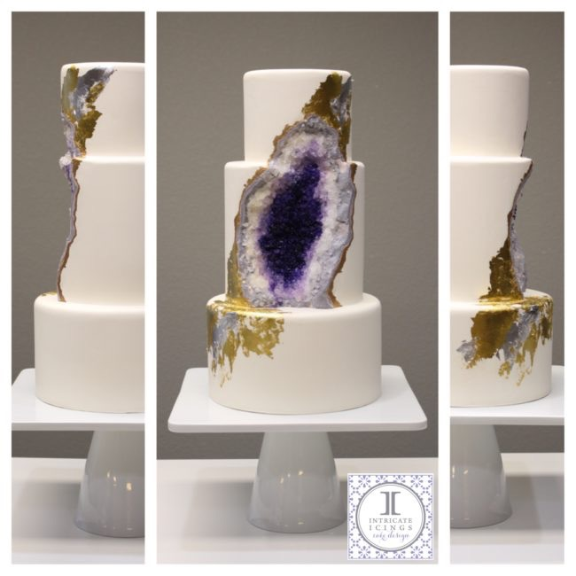 Geode cake created by Intricate Icings for First Look Events and Moss Denver's launch party