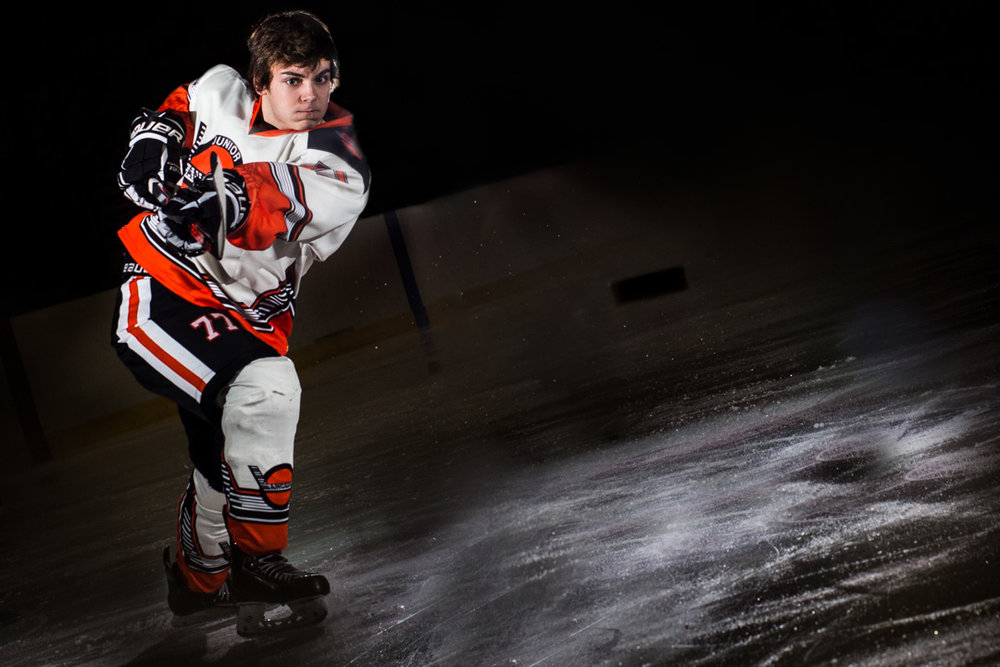 Omaha Senior Photography Jr Lancers Slapshot