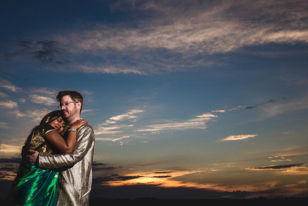 Sunset Wedding Photography with Bride and Groom in Omaha Nebraska