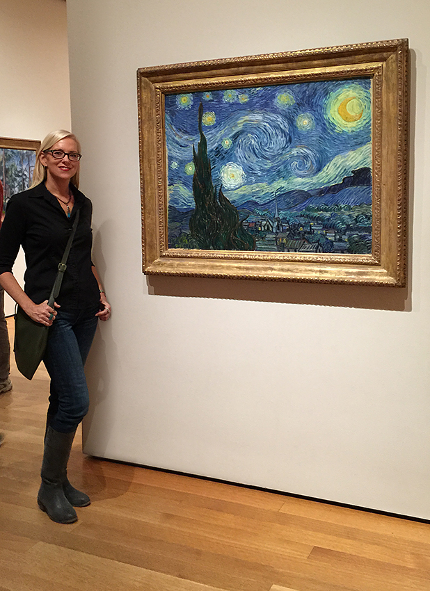 The artist visiting her inspirations by van Gogh.