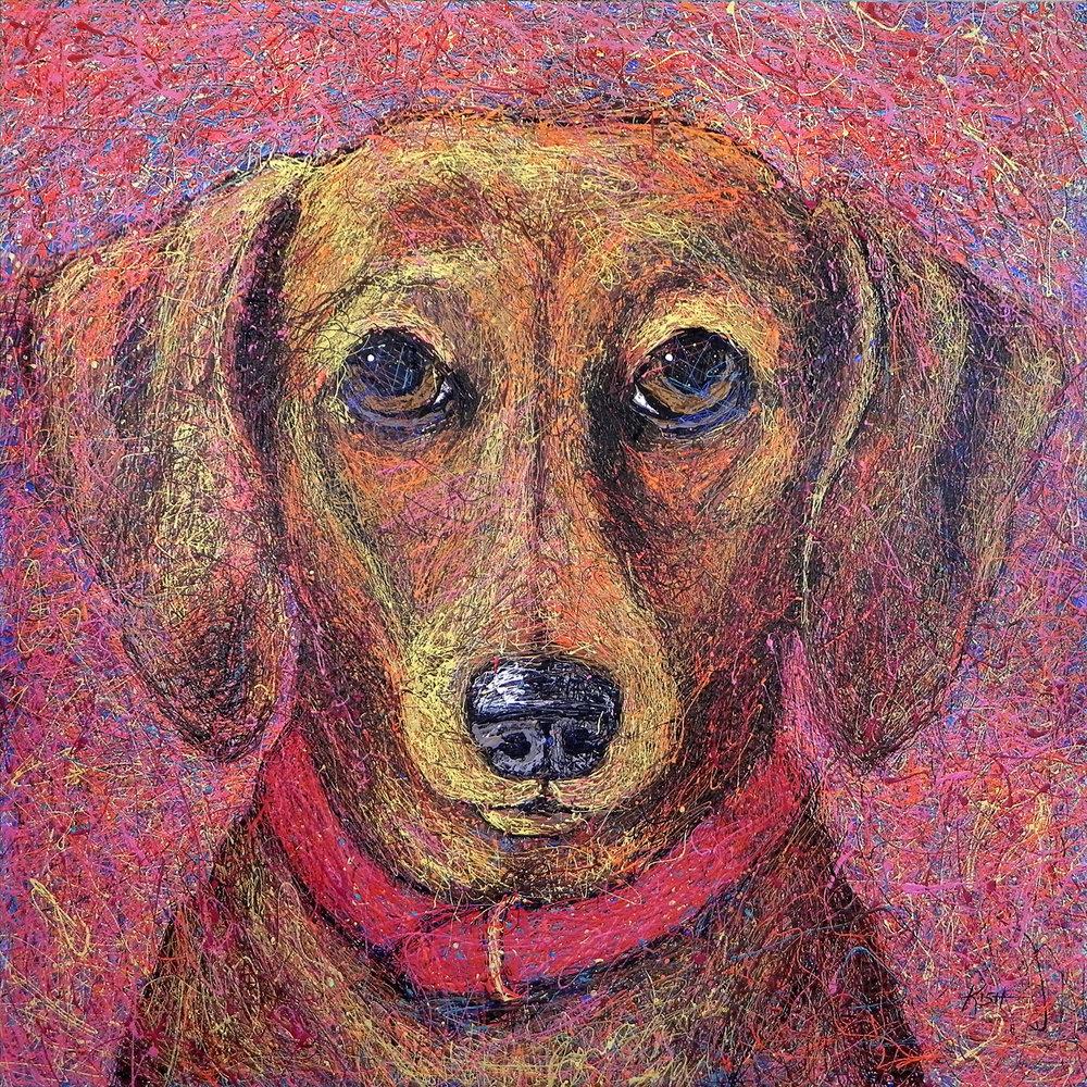 DACHSHUND - ORIGINAL ART 48 x 48—$10,000Art Print (giclee)          24 x 24 ...............$175                       36 x 36 ................$300Canvas Print (giclee)        24 x 24 ...............$450                       36 x 36 ................$800