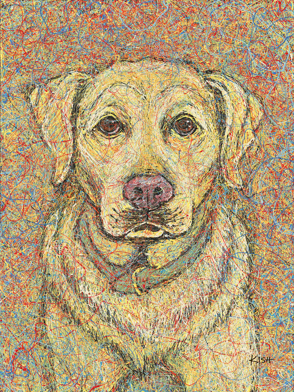 YELLOW LAB  - ORIGINAL ART 30 x 40—SOLDArt Print (giclee)                      16 x 20 ................$125                                               18 x 24 .................$150Canvas Print (giclee)               16 x 20 ................$325                                               30 x 40 ...............$750