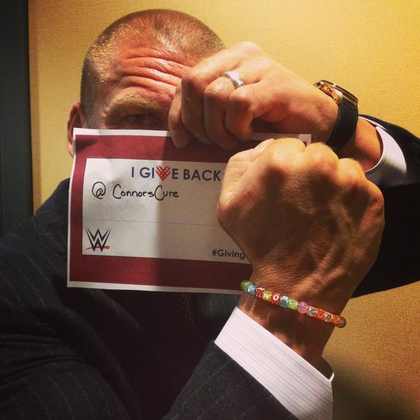 "#CONNORSTRONG: WWE Executive Vice President of Talent, Live Events and Creative Paul ""Triple H"" Levesque poses with his Connor's Cure bracelet on his Twitter and Instagram accounts."