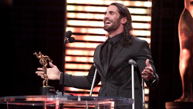 Former WWE World Heavyweight Champion Seth Rollins accepts the 2015 WWE Slammy Award for Superstar of the Year, as voted on by the WWE Universe during WWE Monday Night Raw on Dec. 21, 2015.