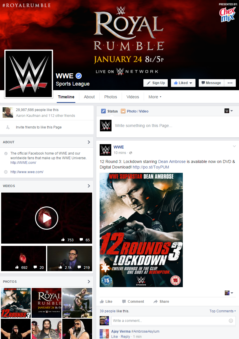 WWE's main Facebook Page's posts were seen more than 20 BILLION times in 2015, including 1 billion Facebook video views.