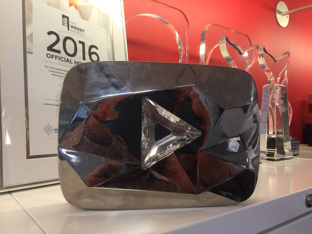 WWE on YouTube was awarded the YouTube Diamond Play Button award in 2016 for reaching the 10,000,000 subscriber mark.