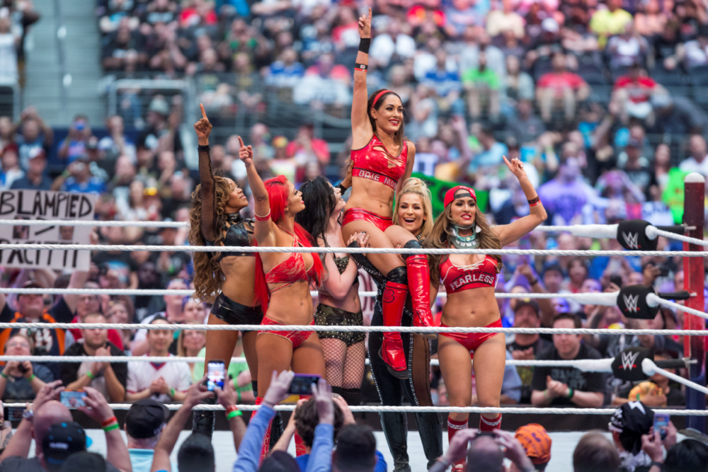 "The cast of ""Total Divas"" celebrates Brie Bella's final match at WWE WrestleMania 32."