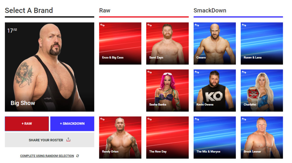 WWE.com's Fantasy Draft simulator   allowed the WWE Universe to draft their own Raw and SmackDown Live rosters, then share those rosters on Twitter or Facebook.