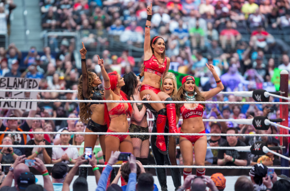 "The cast of ""Total Divas"" celebrate Brie Bella's final WWE match at WWE WRestleMania 32, watched by more than 1.8 million on WWE Network."