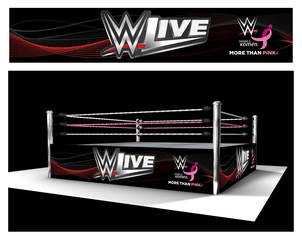 The WWE ring set featured pink elements on the ropes and apron skirt throughout the #MoreThanPink campaign.