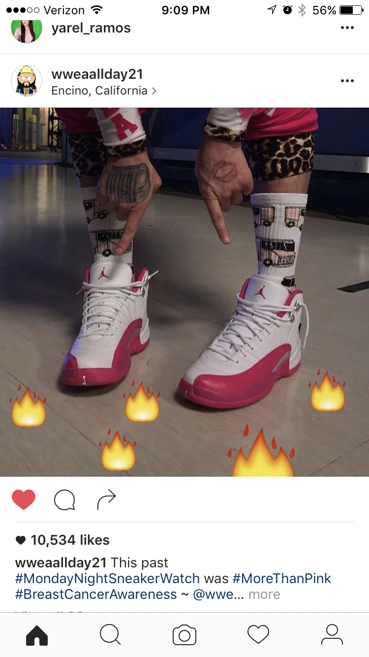 WWE Superstar  Enzo Amore  shows off his #MoreThanPink sneakers before WWE Raw on his Instagram account.