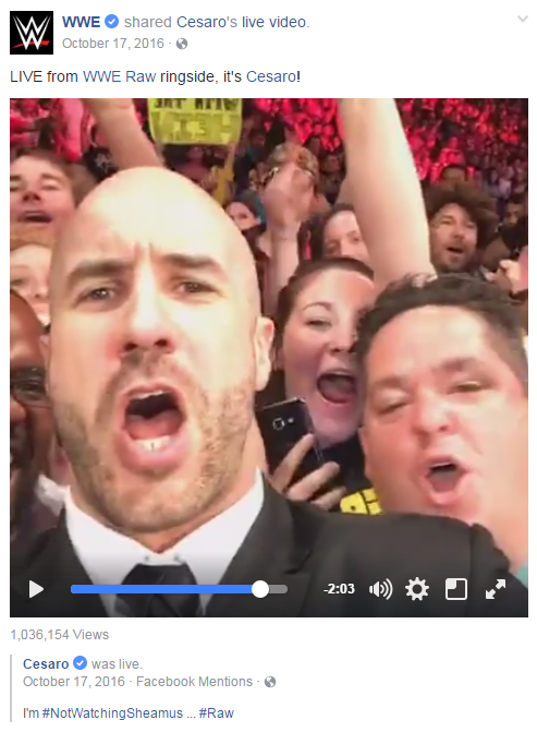Frequently, WWE Superstars will use Facebook Live  during the live broadcast of  WWE Raw  and  WWE SmackDown Live  to give the WWE Universe another view of the action airing live on USA Network. Here,  Cesaro  would rather talk to fans on Facebook Live than support his contentious tag team partner  Sheamus . (  WATCH  )