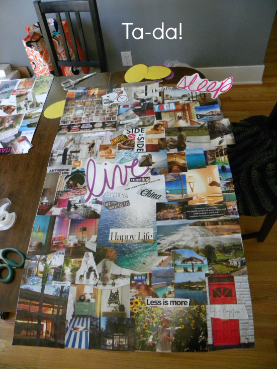 Sample vision board from Small Life, Slow Life.  See link reference link above.