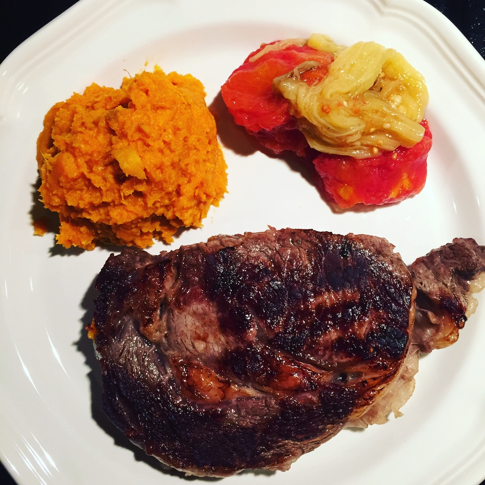 Husband Cooked Rib Eye Steak with Mashed Sweet Potatoes and Armenian Roasted Vegetables