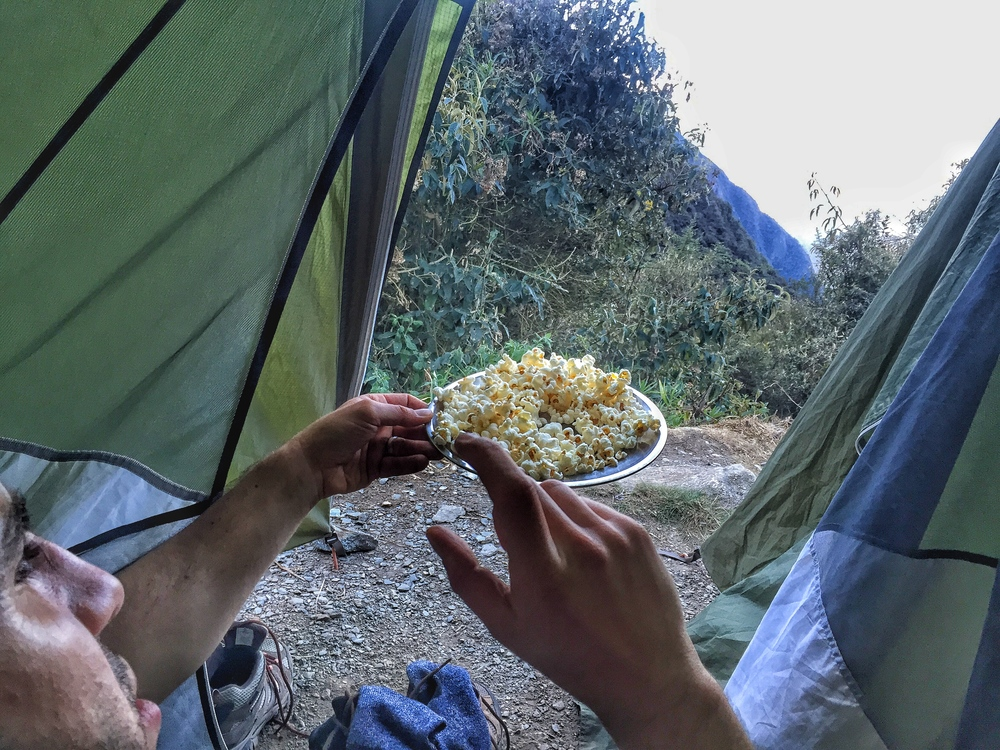 The porter crew treated us to popcorn as a snack.  They also clapped for us when we made it to the campsite.