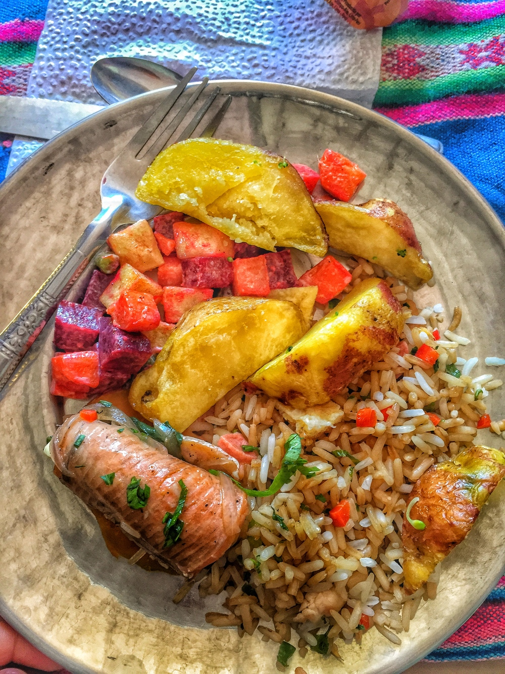 Lunch of potatoes, rice, beets and trout.
