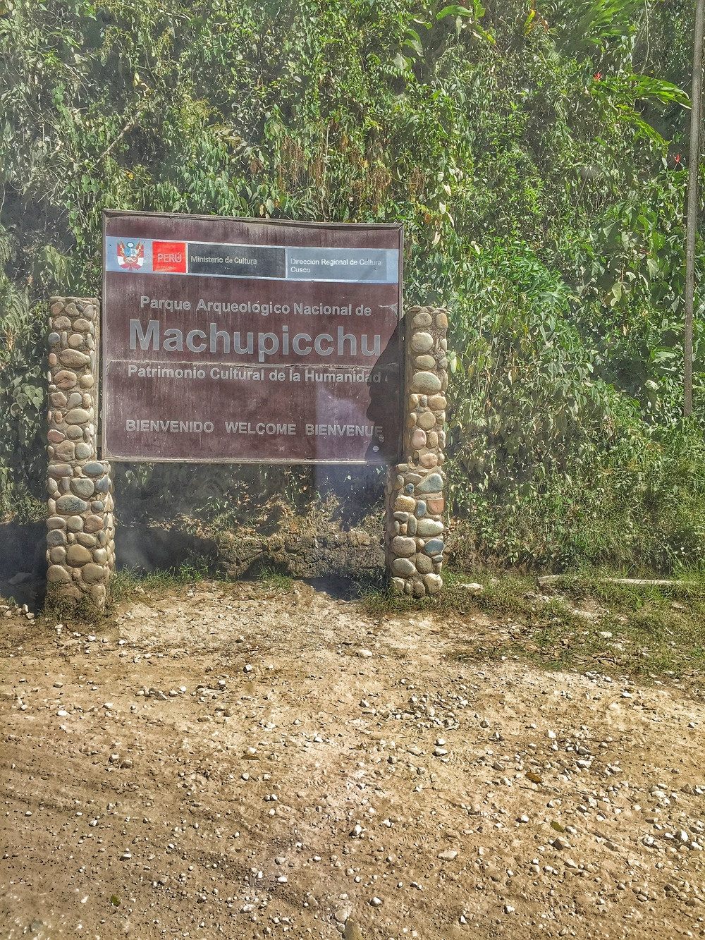 The sign you will see if you opted to take the bus from Aguas Calientes to Machu Picchu.