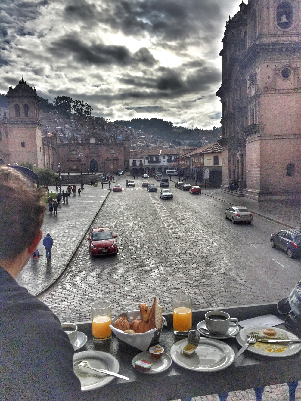 Breakfast with fresh squeezed orange juice overlooking the Plaza de Armas.