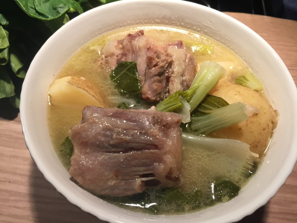 Filipino Oxtail Soup: Whole30 and Paleo compliant.  The meat adds great flavor and creates a broth that is full of excellent nutrients.  Hearty with potatoes and bokchoy.
