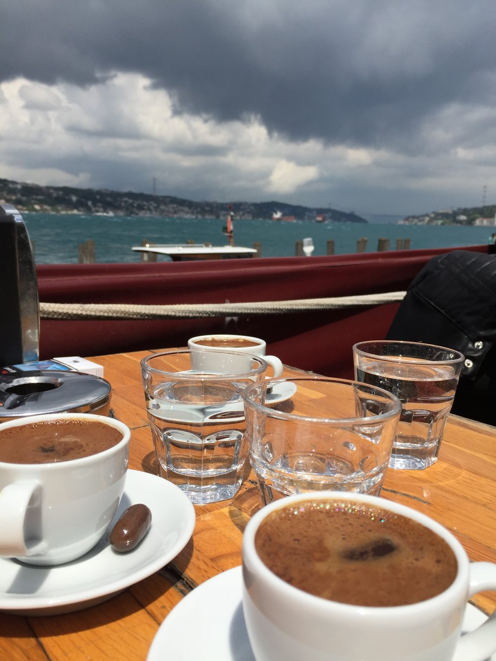 The famous Turkish coffee sipped by the Bosporus of course.