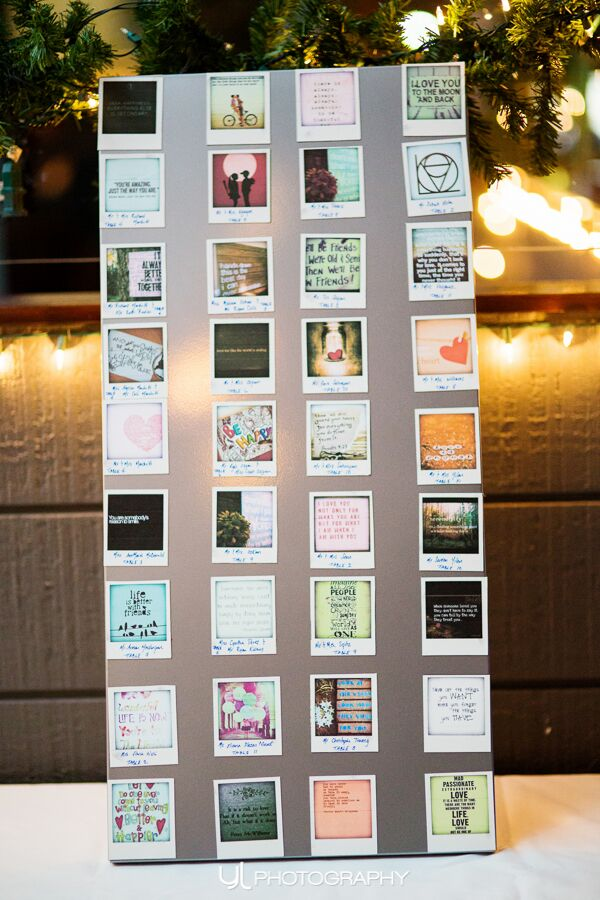 DIY Polaroid seating cards.
