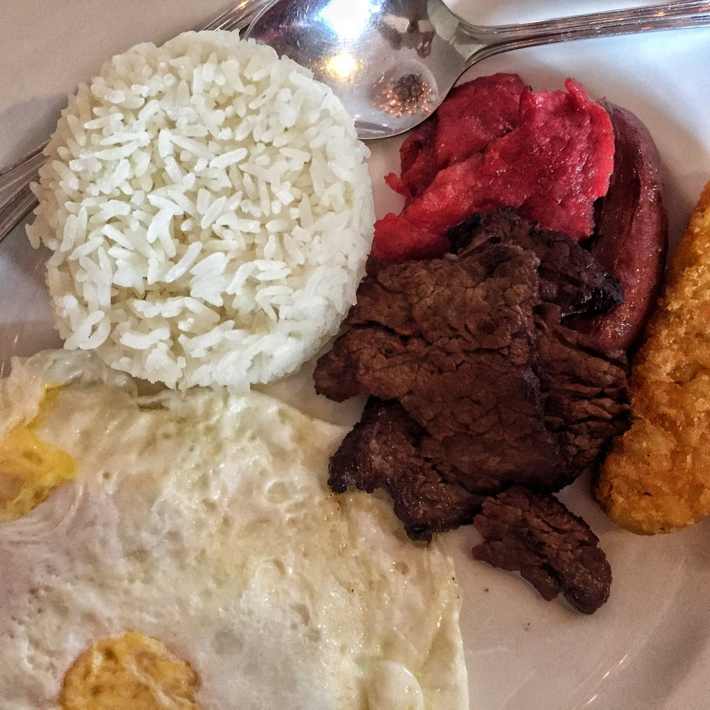 Filipino classic breakfast plate.