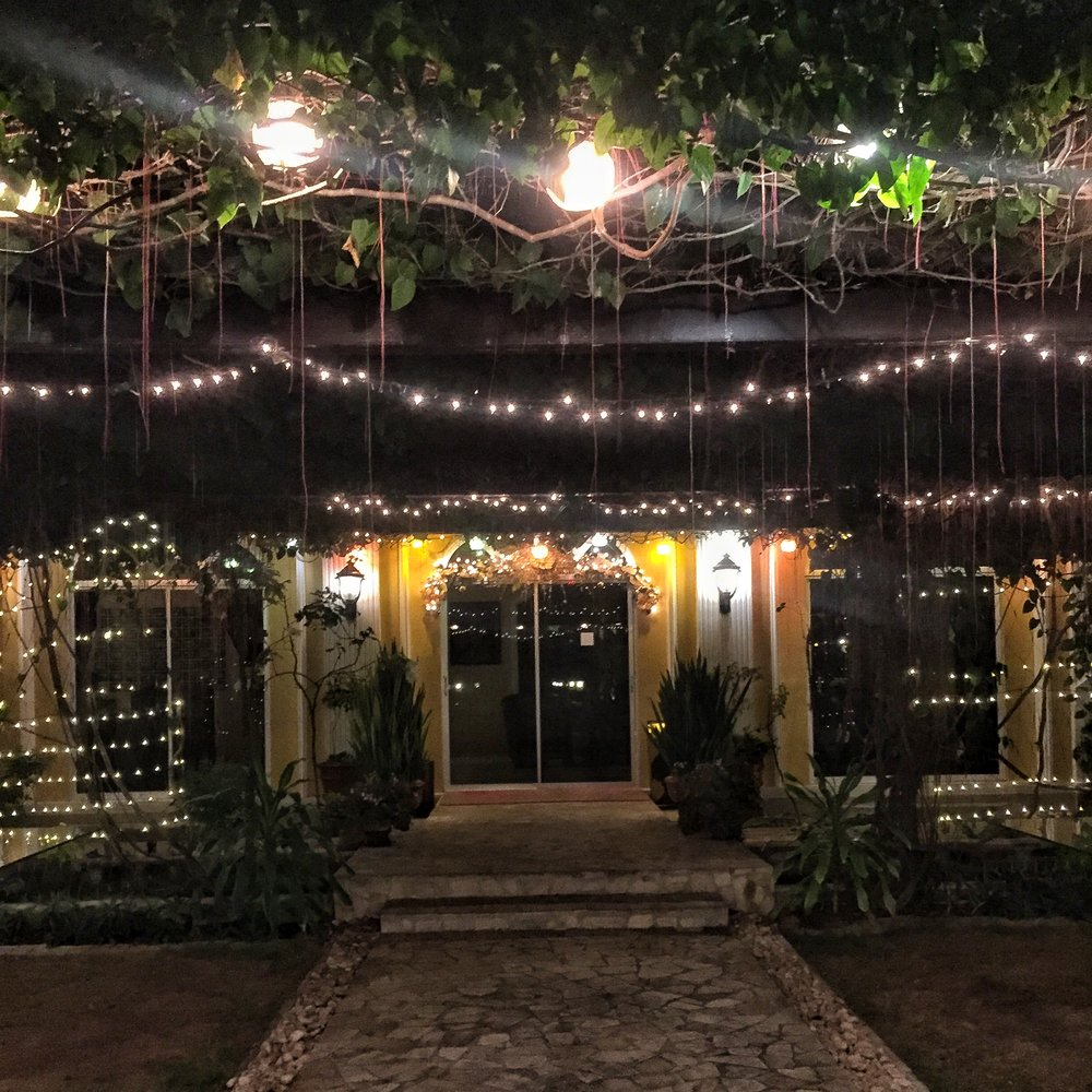 The entrance to the reception and restaurant area during the night. So romantic!