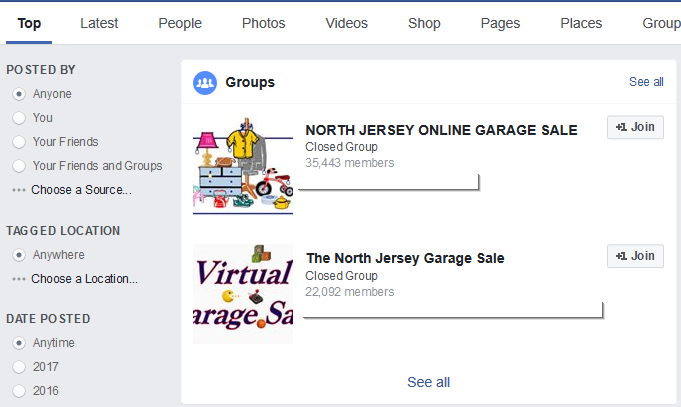 "Here's what appeared when I searched for ""North Jersey Garage Sale"" with a potential reach of over 20K people."