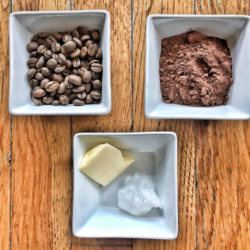 Simple ingredients for a Bulletproof Coffee Mocha