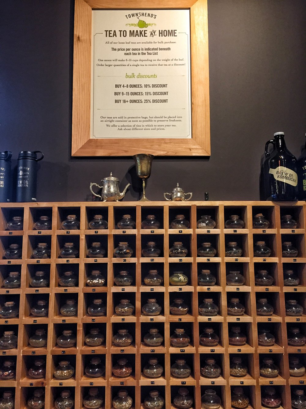 Townshends Tea with a huge selection of loose tea to enjoy in the cafe or to take home, if for some reason you are tired of coffee.