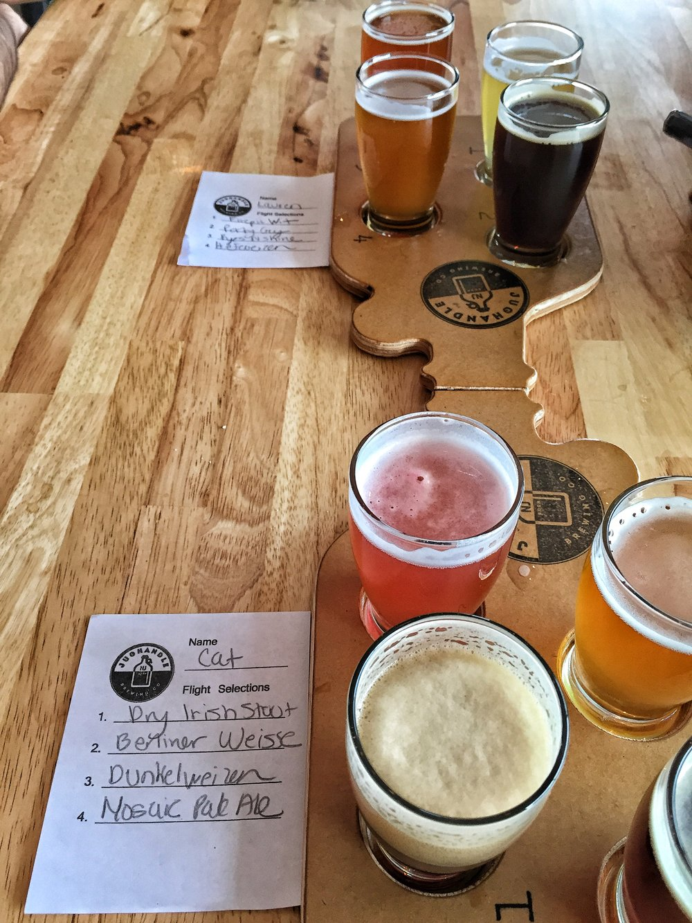 Our two flights of beer.