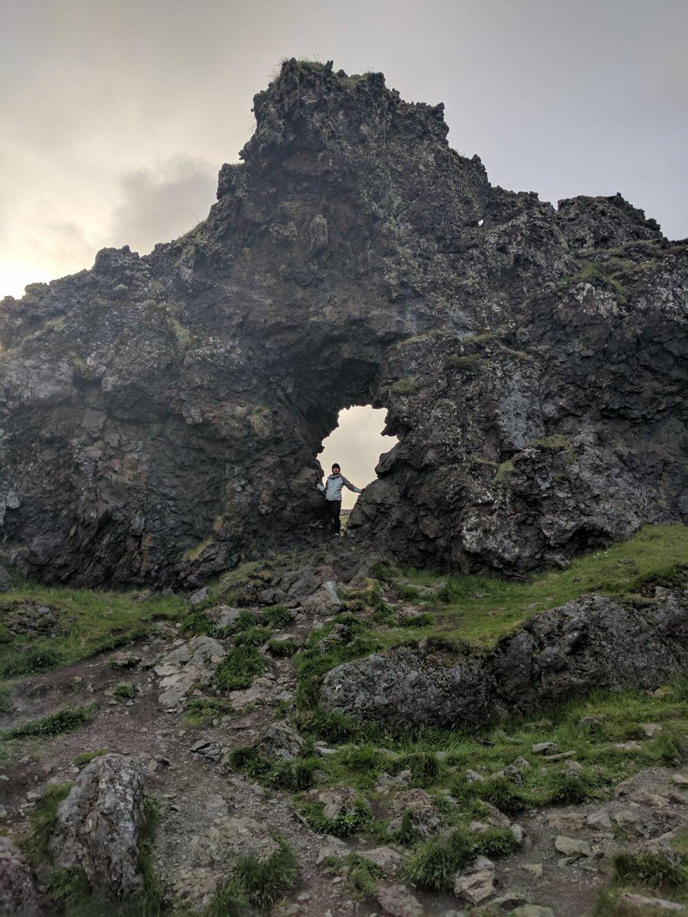 Exploring in volcanic ash in Dritvik.