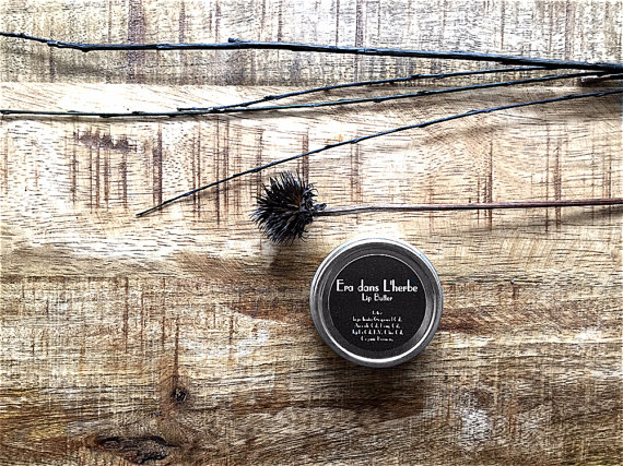 Found on Etsy: Organic lip balm in metal tin.