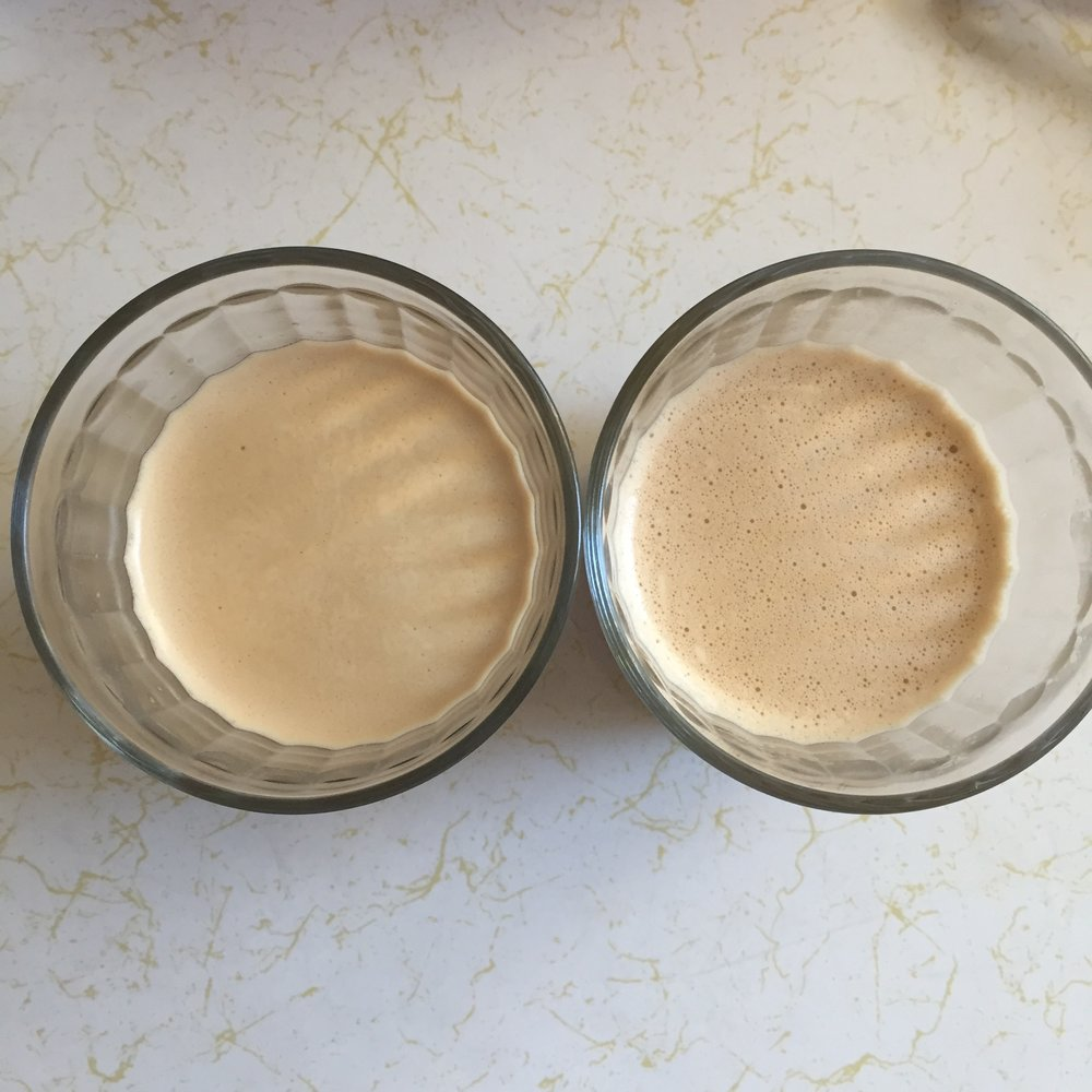Top view of the two butter coffees. Left side is Power Creamer. Right side is the Kerrygold + Organic Coconut oil. Both blended with a hand mixer.