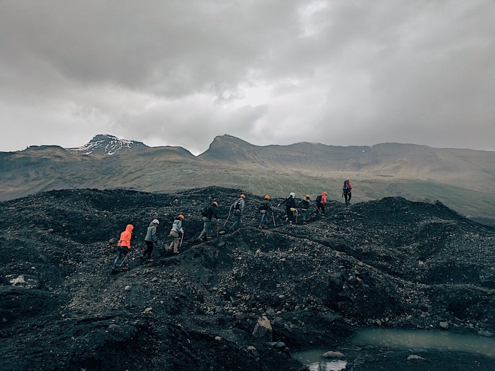 Adventure awaits you on top of a glacier with volcanic rocks. It's wise to wear your cramp-ons.