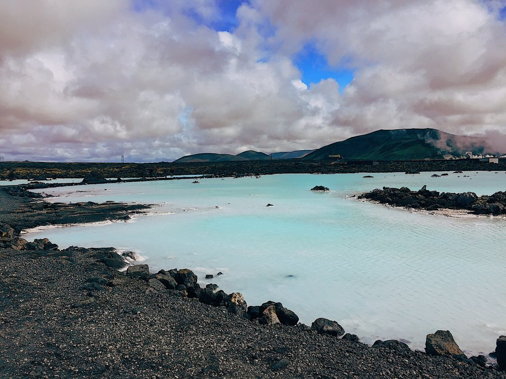 The natural area of the Blue Lagoon outside the main entrance, warm waters, cool air.