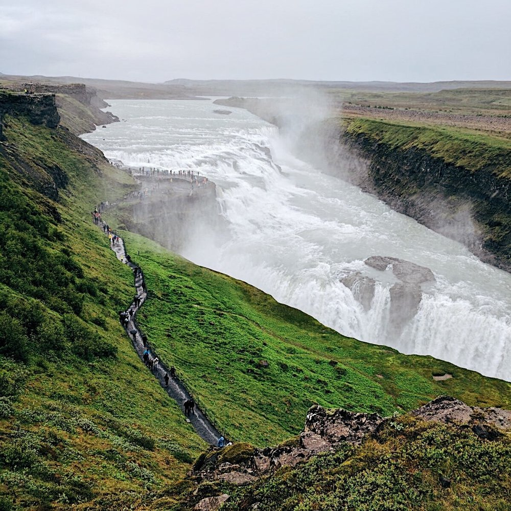 Gulfoss raging away.