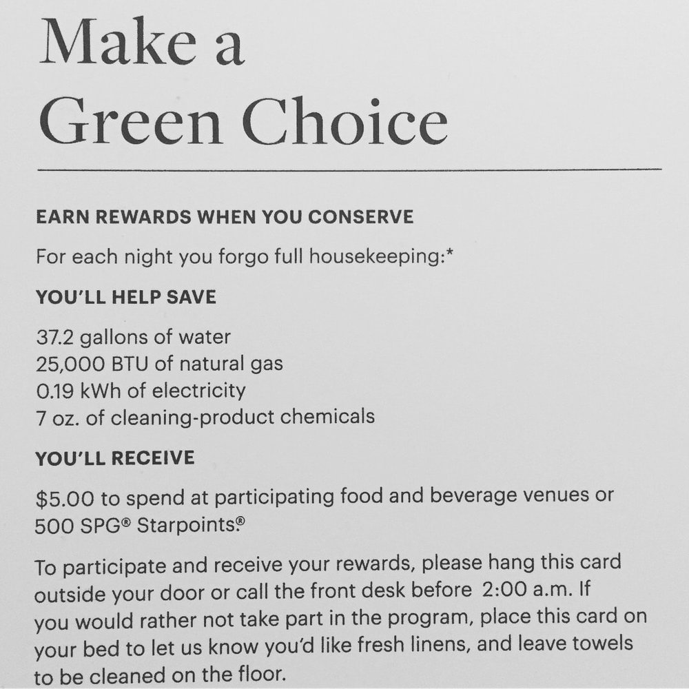 Westin Charlotte. Make a green choice and get SPG rewards.