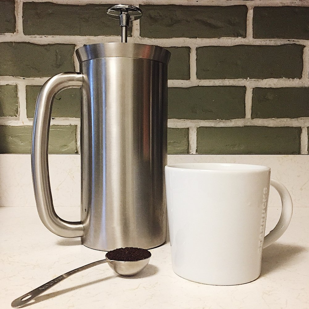 Espro Stainless Steel French Press for zero waste coffee.