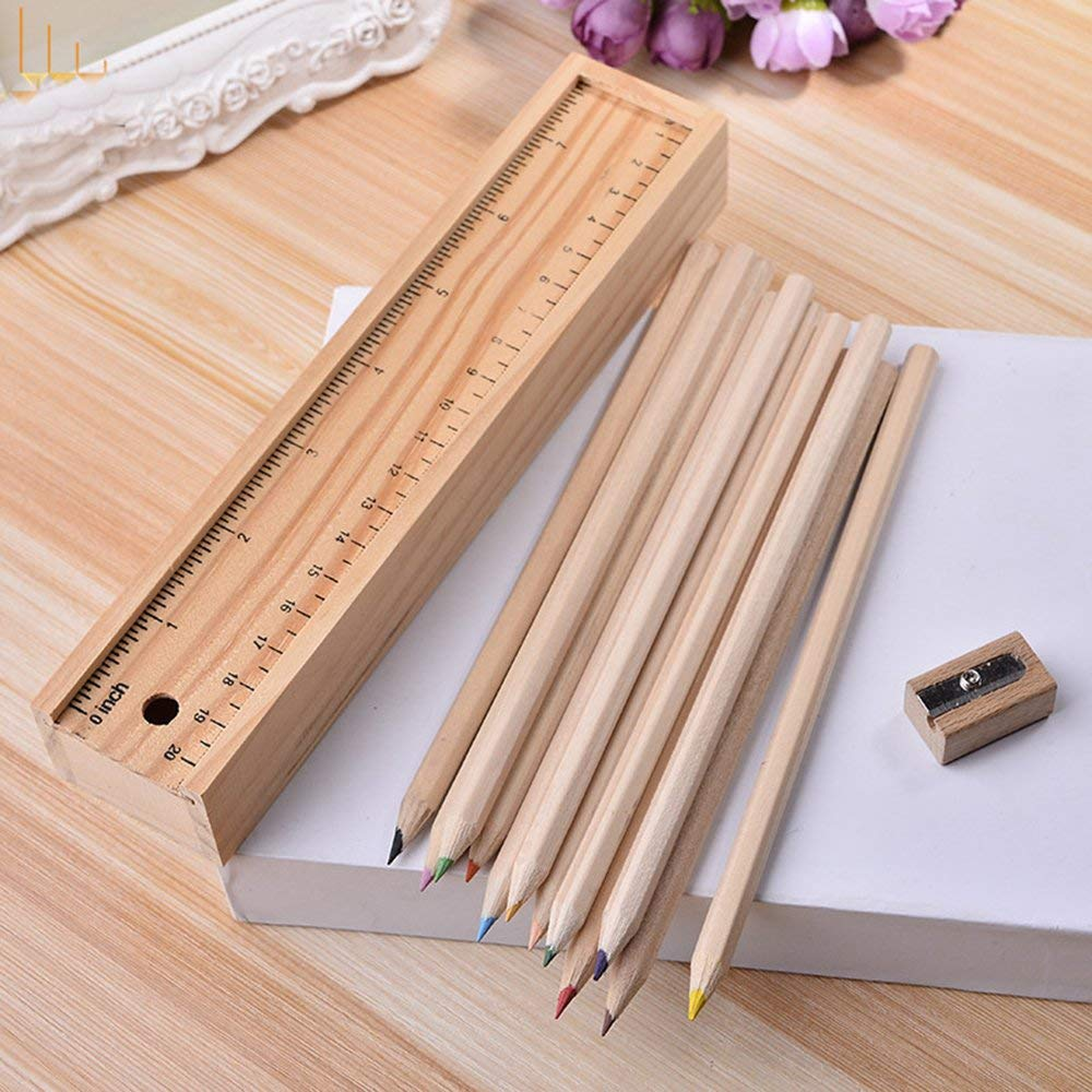 Wood Pencil Case with Colored Pencils found on Amazon.